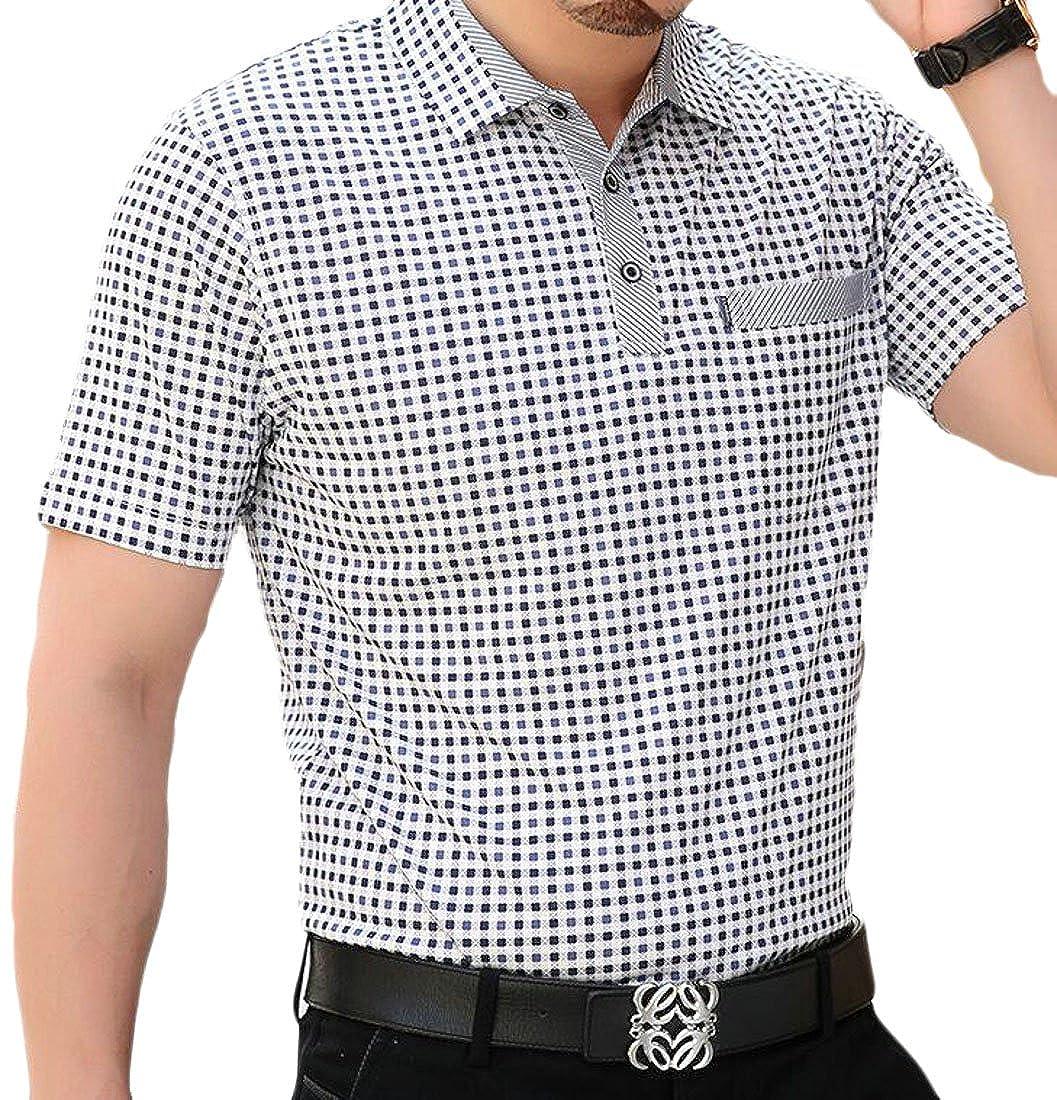 XiaoTianXin-men clothes XTX Mens Slim Fit Short Sleeve Plaid Lapel Button Polo Shirts Top