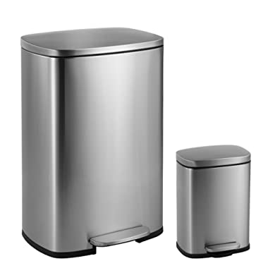 happimess HPM1006A Connor Rectangular 13-Gallon Trash Can, Stainless Steel