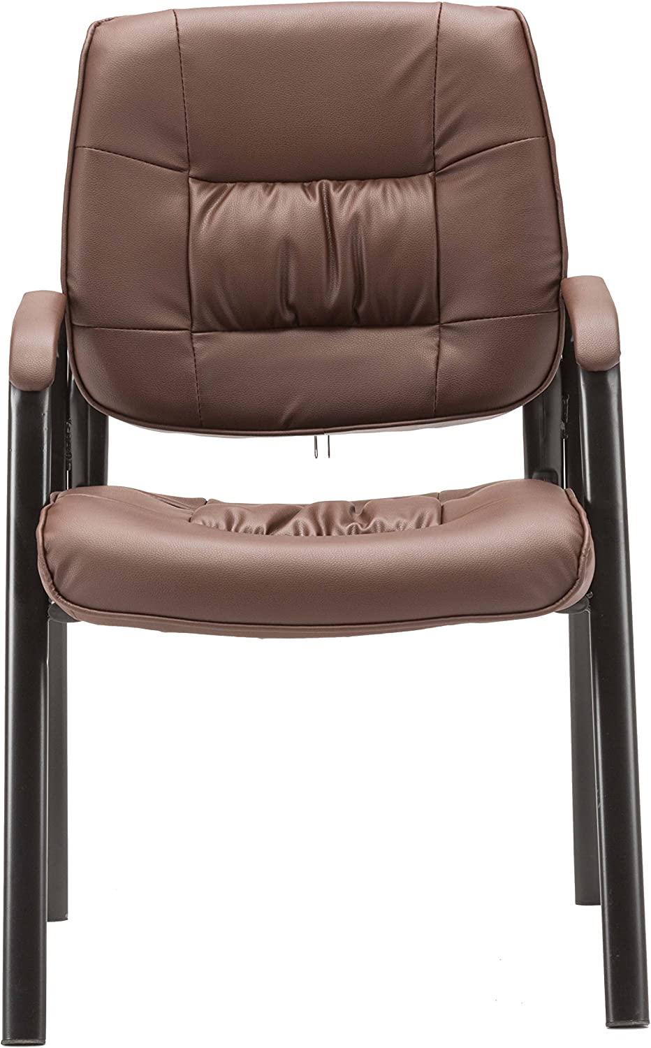 BTEXPERT Premium Leather Office Executive Chair Waiting Room Guest/Reception Side Conference Chair Brown