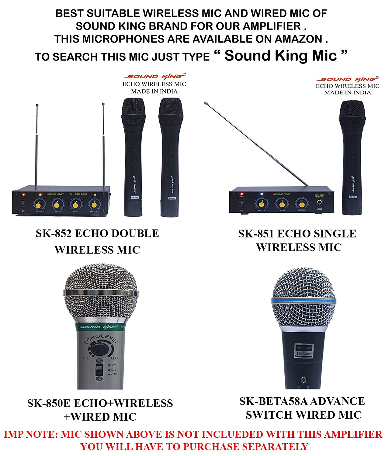 Sound King Sk 25000 Echo Bluetooth Karaoke 2 Ch Mixer Amplifier With Audio One Transistor Cordless Microphone Made In India Musical Instruments