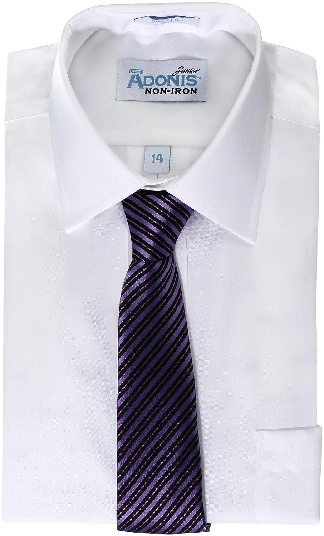 BCBT-6 ADONIS Boys 100/% Cotton Non Iron White Pinpoint Long Sleeve Dress Shirt