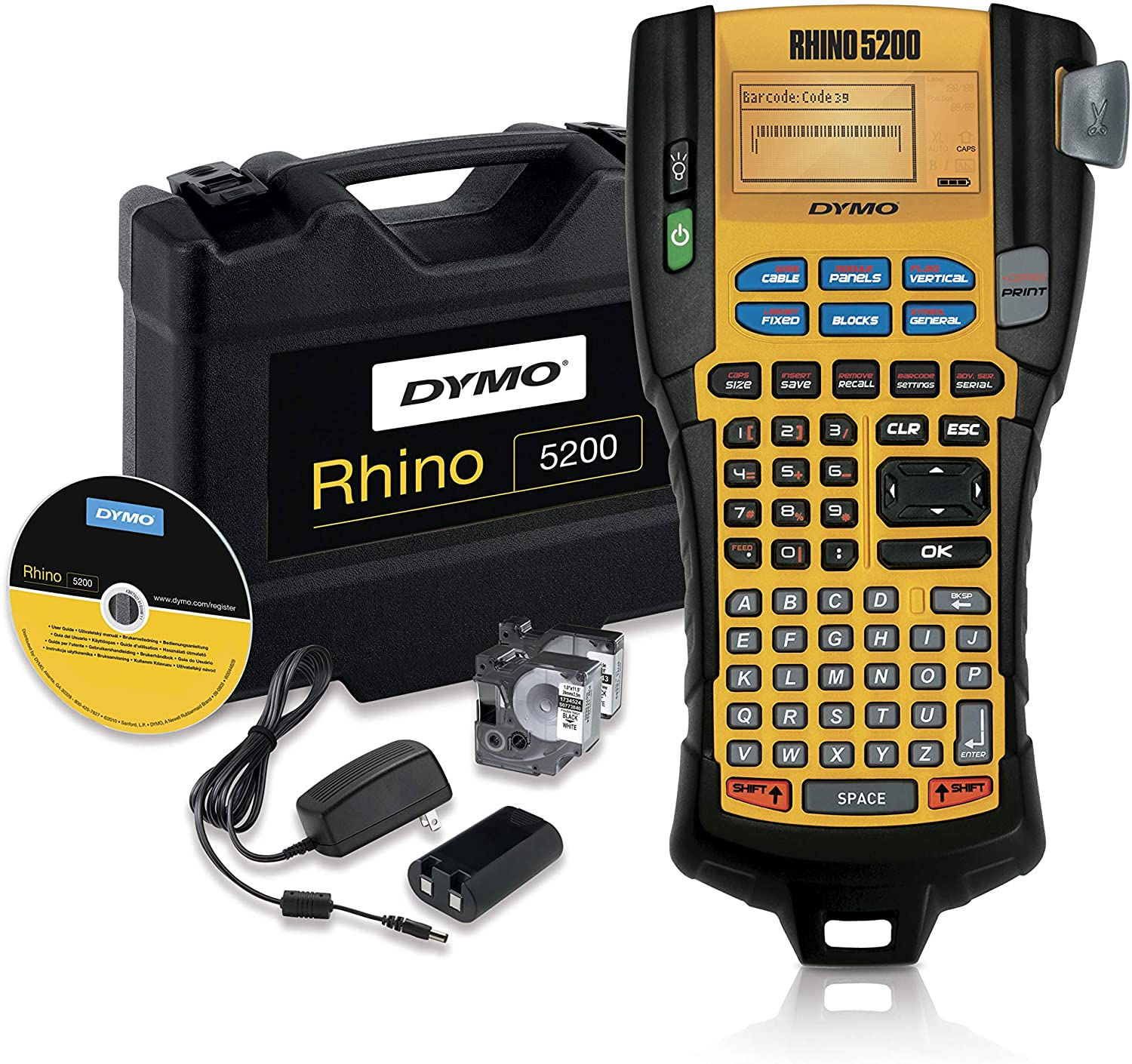 DYMO Industrial Label Maker & Carry Case | RhinoPRO 5200 Label Maker, For Job Sites and Heavy-Duty Labeling Jobs, Prints Fast, Includes 2 Rolls of DYMO Industrial Vinyl Labels: Office Products