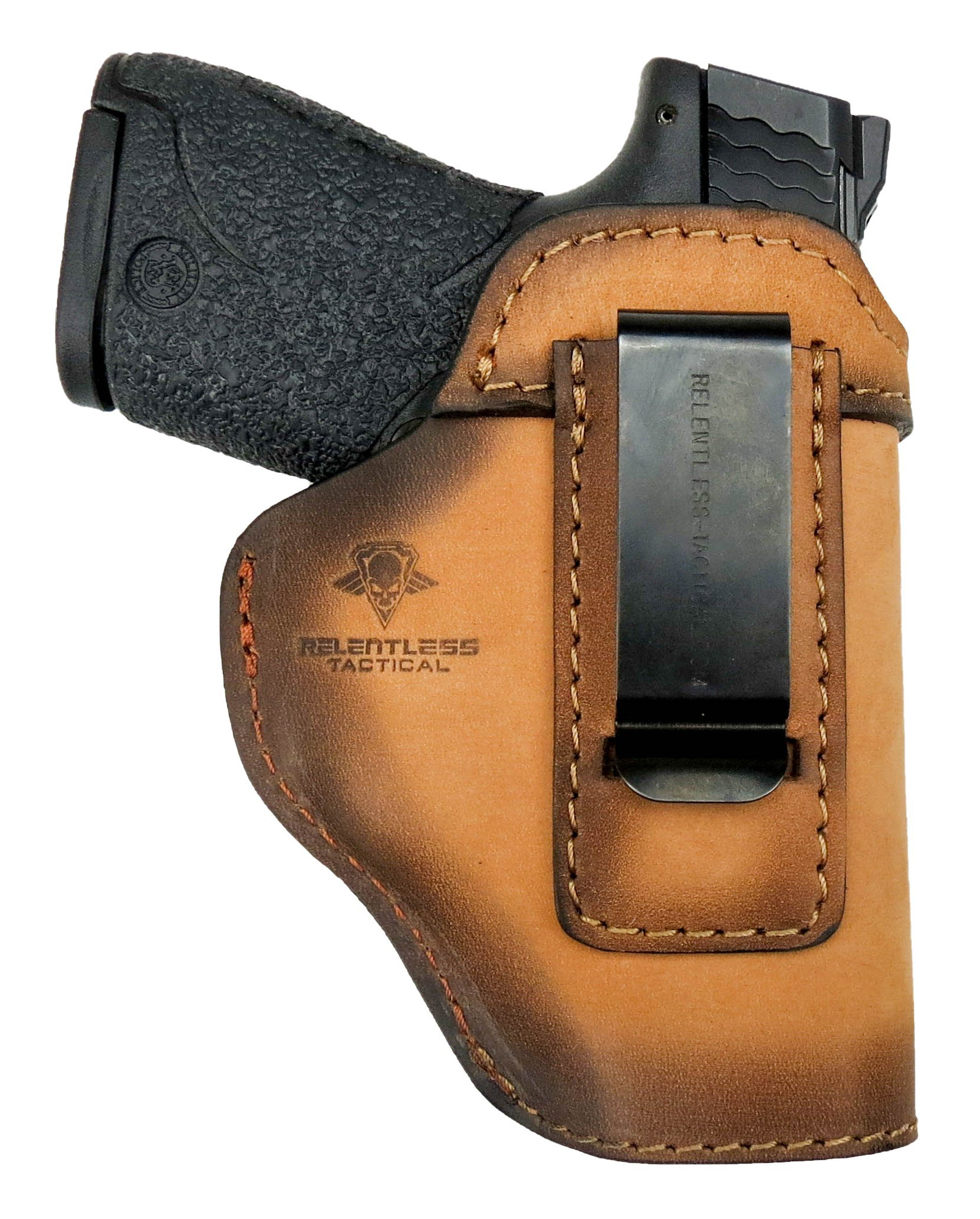 Relentless Tactical The Defender Leather IWB Holster - Made in USA - For S&W M&P Shield - GLOCK 17 19 22 23 32 33/Springfield XD & XDS/Plus All Similar Sized Handguns – Charred Oak – Right Handed by Relentless Tactical (Image #3)