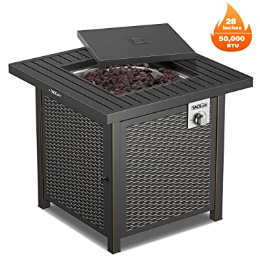 TACKLIFE Gas Fire Table, Outdoor Companion, 28 Inch 50,000 BTU Auto-Ignition Propane Gas Fire Pit with Cover, CSA Certification and Strong Striped Steel Surface, as Table in Summer, Stove for Winter