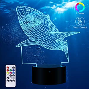 3D Night Light for Kids Shark 3D Night Light Porpoise Bedside Lamp with Remote Control 16 Color Changing Xmas Halloween Birthday Gift for Child Baby Girl.