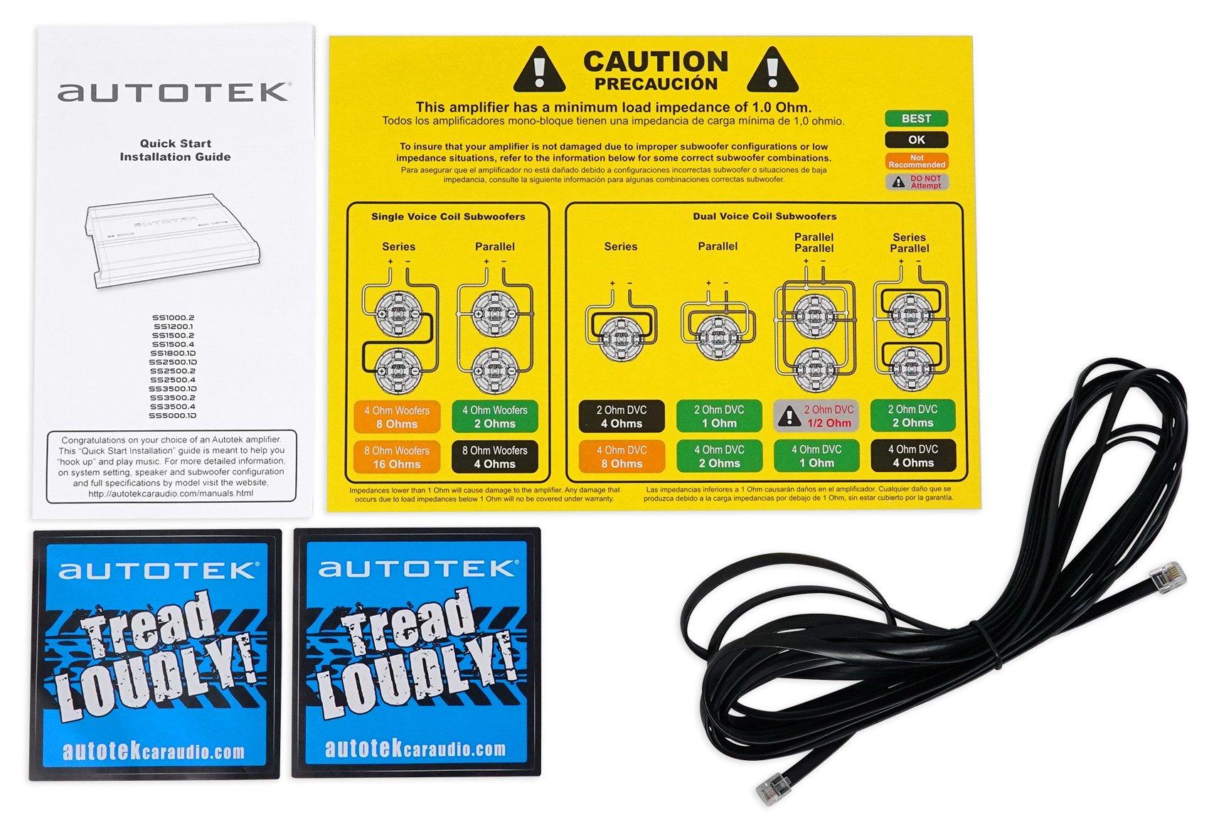 Autotek SS1800.1D Super Sport 1800w Mono Car Amplifier Class D+Remote+Amp Kit by Autotek (Image #7)