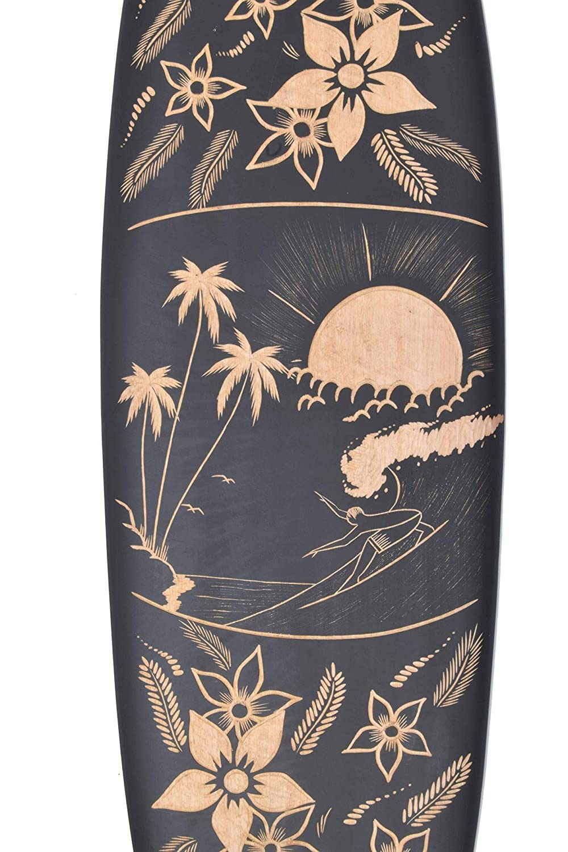 Interlifestyle Surfboard aus Hartholz 100cm mit Palmen S/üdsee Sternchen Motiv Deko Surfbrett aus Holz
