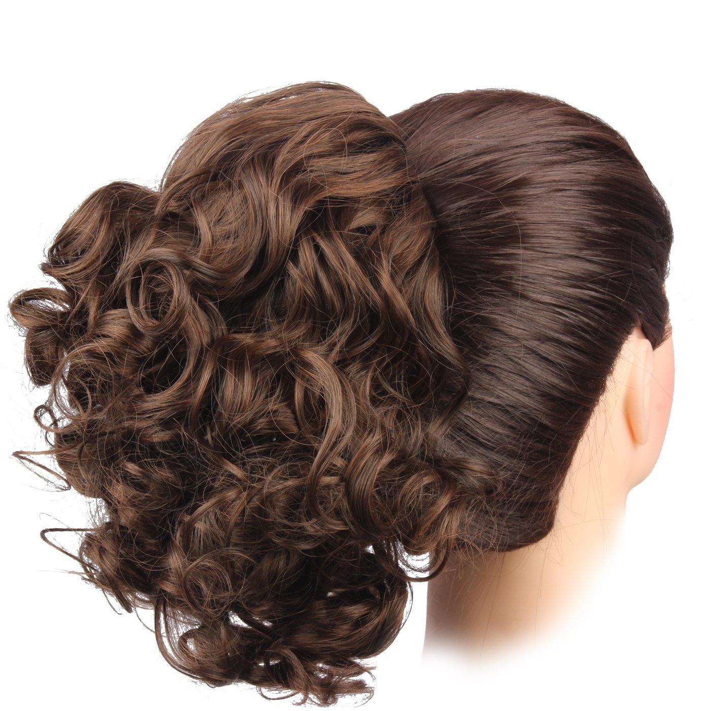 WeKen Women Hair Bun Curly Hair Synthetic Medium Long Hairpiece Dark Brown Yiwu Zhongken Trading Co. Ltd.
