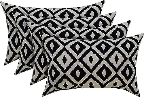 RSH D cor Indoor Outdoor Set of 4 Decorative Rectangular Lumbar Throw Pillows Black and White Aztec Geometric Fabric 20 W x 12 H