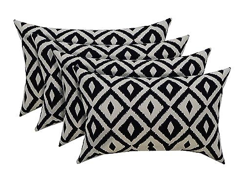 """RSH D cor Indoor Outdoor Set of 4 Decorative Rectangular Lumbar Throw Pillows Black and White Aztec Geometric Fabric 20"""" W x 12"""" H"""
