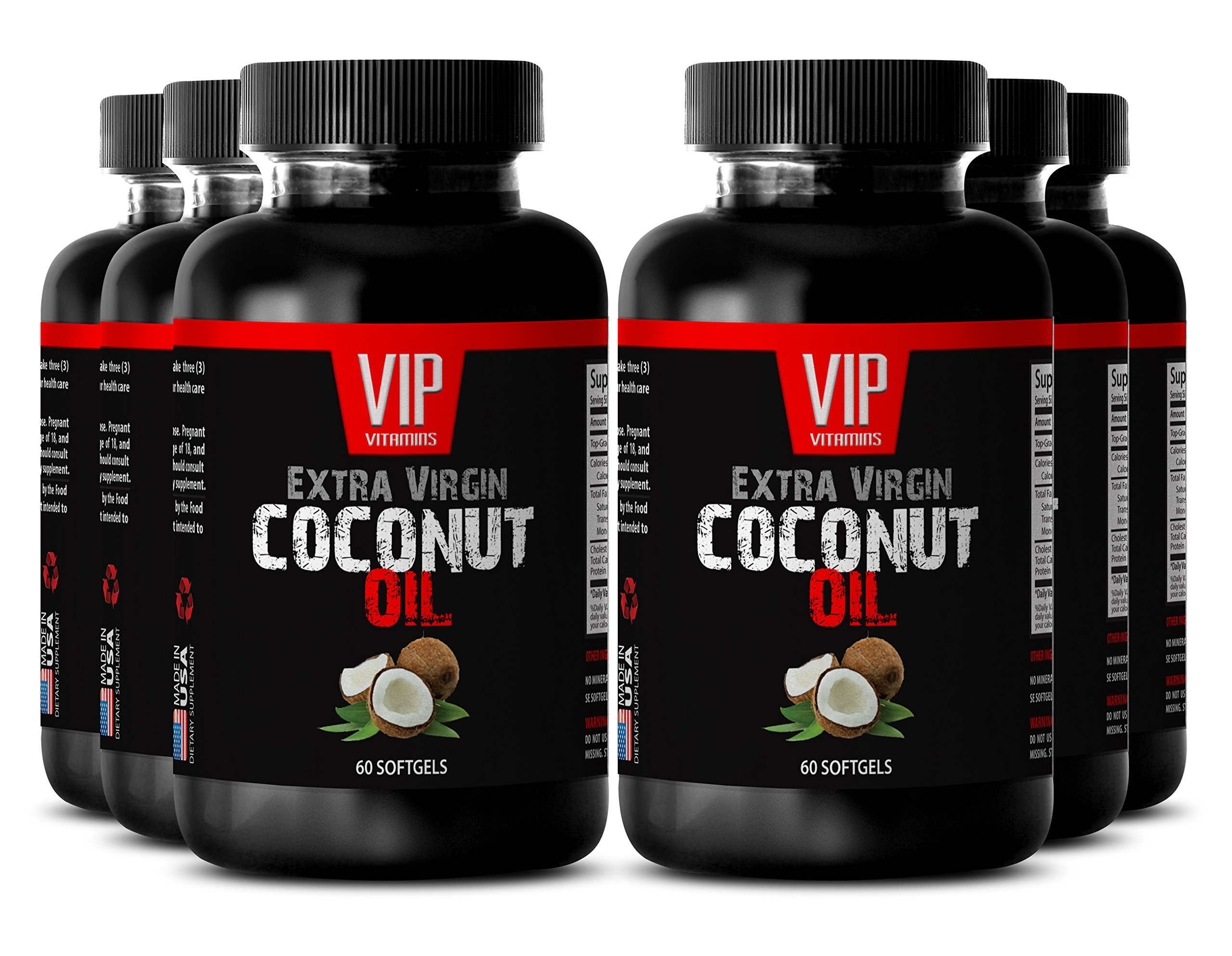 Burn fat fast pills - COCONUT OIL EXTRA VIRGIN - Weight loss supplement - 6 Bottles 360 Softgels
