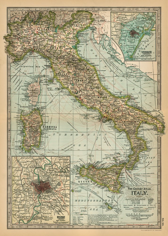Amazon cavallini co italy map decorative decoupage poster italy map decorative decoupage poster wrapping paper sheet gumiabroncs Choice Image