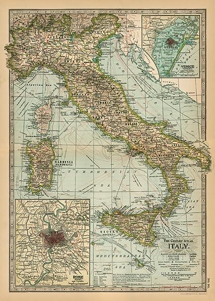 Amazon.com: Cavallini & Co. Italy Map Decorative Decoupage Poster ...
