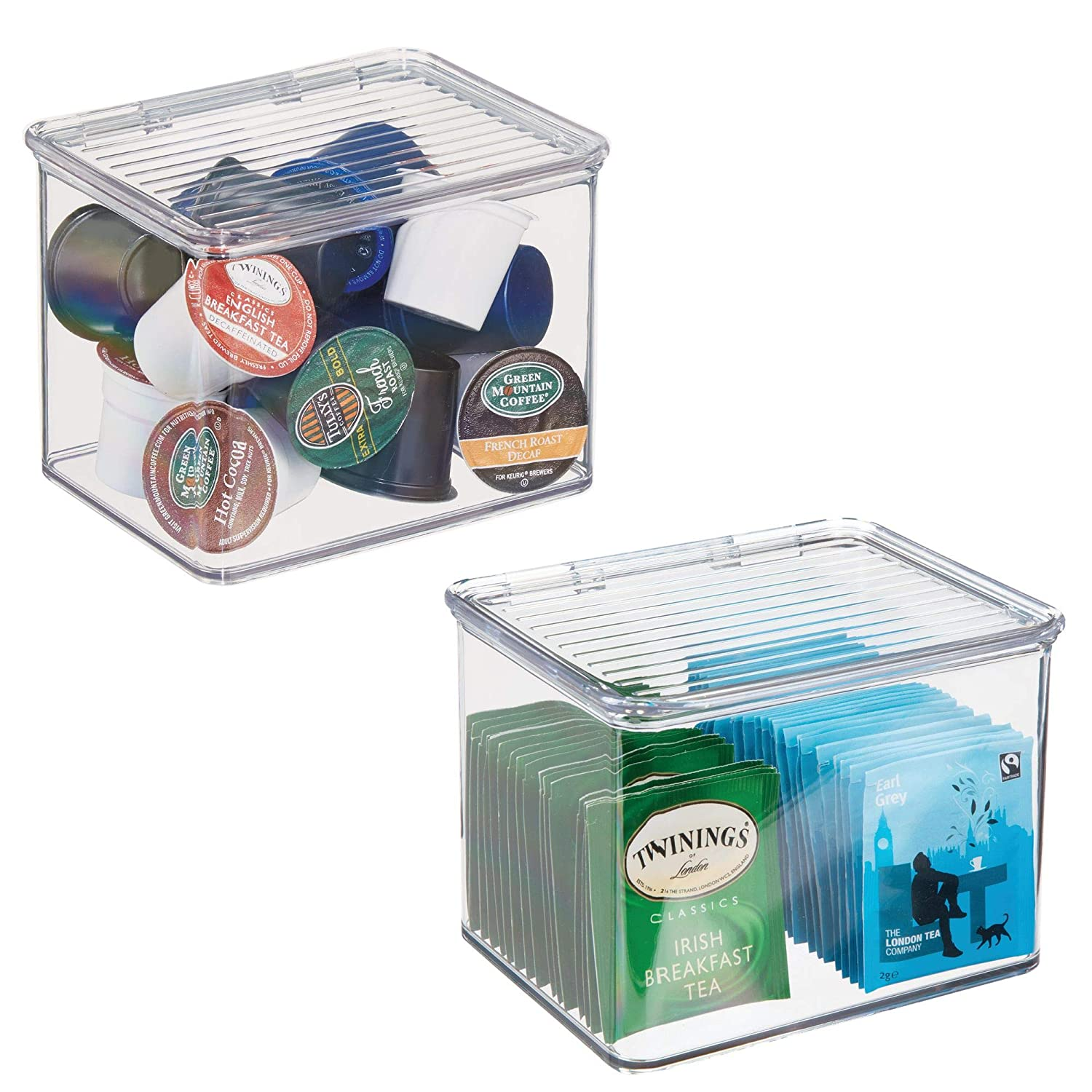 mDesign Plastic Stackable Kitchen Pantry Cabinet or Refrigerator Food Storage Container Bin, Attached Hinged Lid - Organizer for Snacks, Produce, Pasta - BPA Free - Deep Container - 2 Pack - Clear