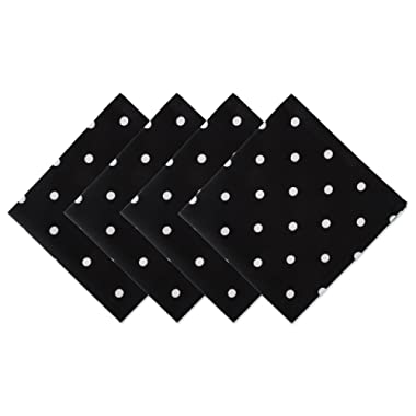 DII Z02037 Printed Polka Dot Cotton Napkin, Perfect for Dining Room, Holiday Parties, and Everyday Use, Black Base White 4 Pack