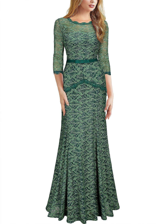 1930s Evening Dresses   Old Hollywood Dress Miusol Womens Floral Lace 2/3 Sleeves Long Bridesmaid Maxi Dress $52.99 AT vintagedancer.com