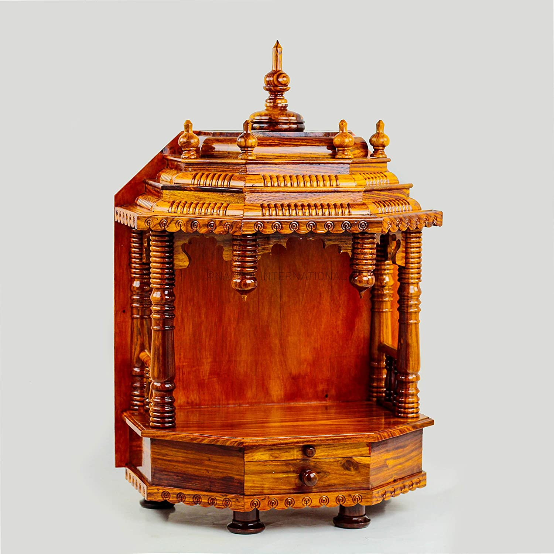 Dark Varnish Nagina International Premium Hand Made Wooden Temple Wooden Indian Mandir Sheesham Wooden Madir
