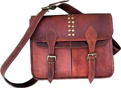 Women/'s Real Pure Leather Handmade Shoulder Crossbody Messenger Laptop Bag