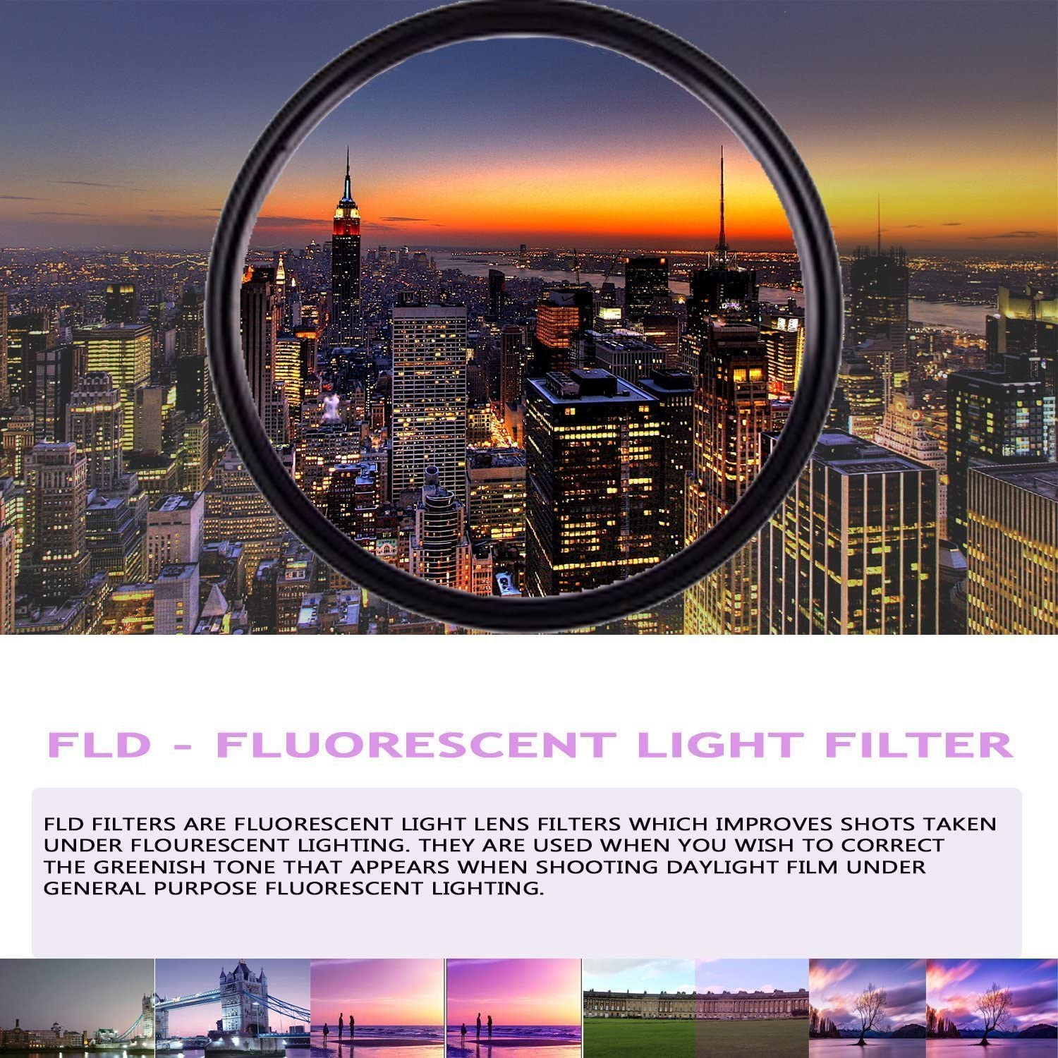 FLD Fluorescent Natural Light Color Correction Filter for Canon EF-S 15-85mm f//3.5-5.6 is USM Lens