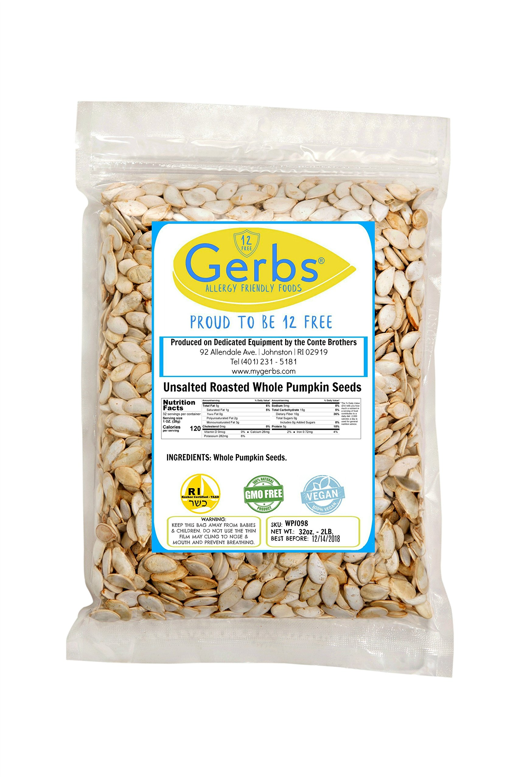 Unsalted Whole Pumpkin Seeds, 2 LBS by Gerbs – Top 12 Food Allergy Free & Non GMO - Vegan & Kosher Certified - Dry Roasted In-Shell Pepitas from United States