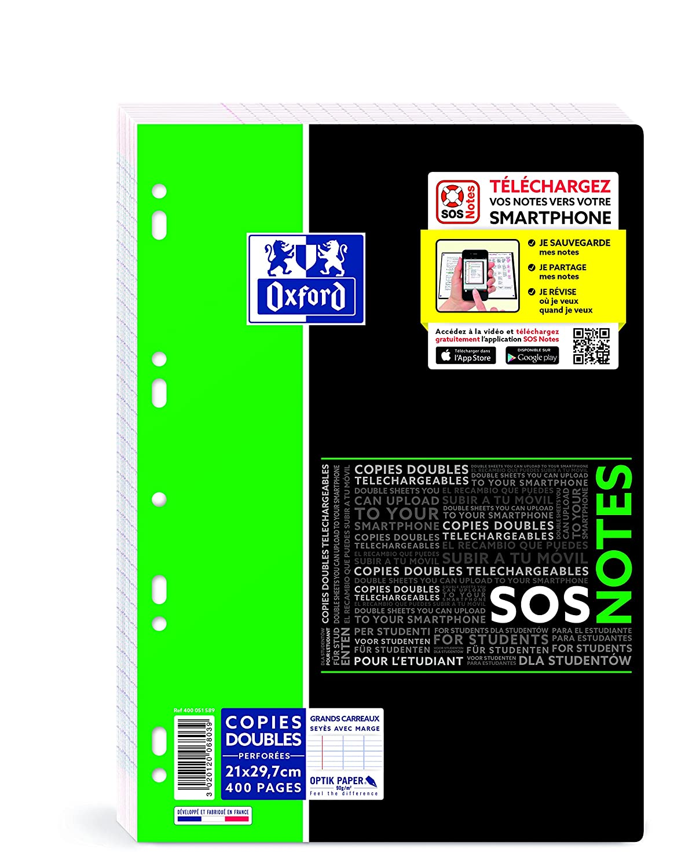 Oxford studenti SOS Note foglio doppio 400pagine A4bianco Quadretti piccoli, 5 x 5 A4 (21 x 29,7 cm) bianco Hamelin Brands