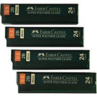 Faber-Castell 0.5 mm 2B Lead Refills Strong Dark Smooth Leads Mechanical Pencil Lead Refills (4 Tubes, 24 Leads Per Tube…
