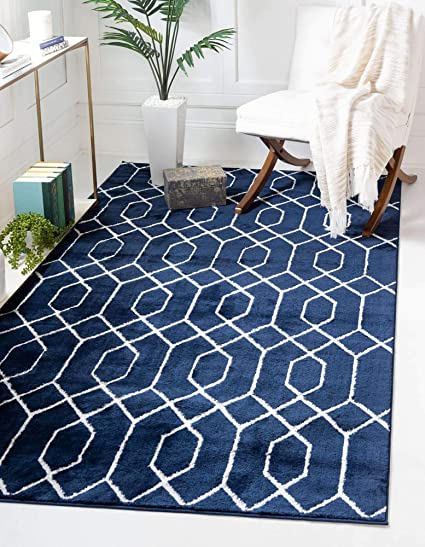 Unique Loom Marilyn Monroe Glam Collection Textured Geometric Trellis Area Rug 5 X 8 Feet Navy Blue Silver Amazon Co Uk Kitchen Home