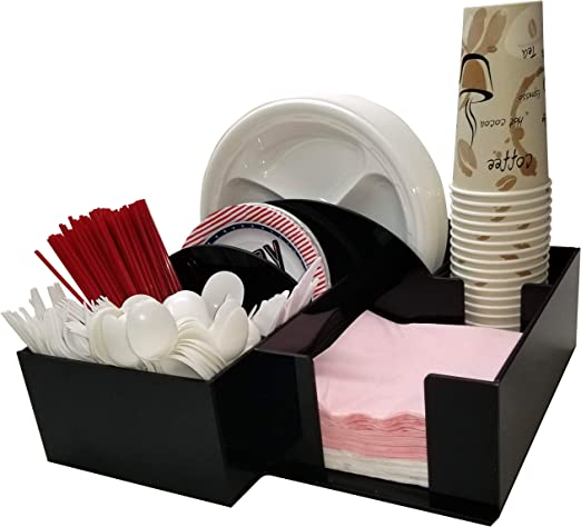 Amazon Com Paper Plate Dispenser And Appetizers Plate Bowl Or Napkin Barbecue Holder With Cup Holder Knife Fork Spoon Organizer Bbq Or Picnic Caddy 3017 Kitchen Dining