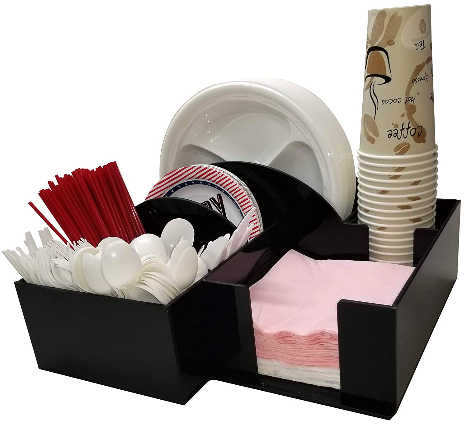 Paper Plate Dispenser and Appetizers Plate, Bowl or Napkin barbecue Holder with Cup Holder Knife Fork Spoon Organizer, BBQ or Picnic Caddy (3017)
