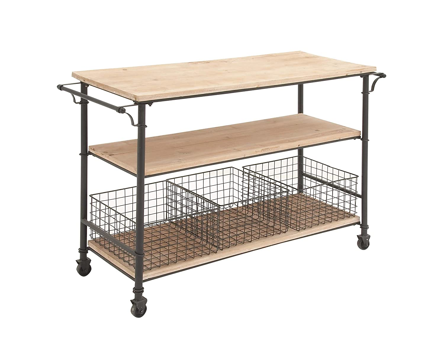 Deco 79 50203 Industrial Metal Wood Table Rolling Cart With Drawer Baskets 48 X 32
