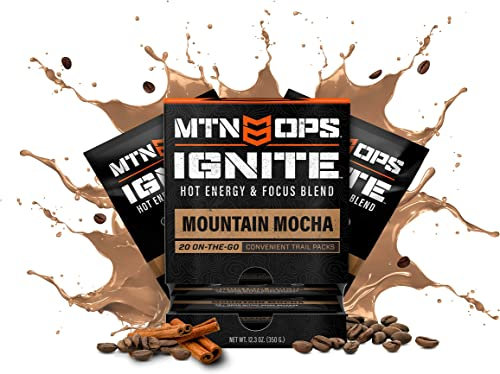 MTN OPS Hot Ignite Supercharged Energy Drink Mix Focus Enhancer, Mountain Mocha – Trail Packs