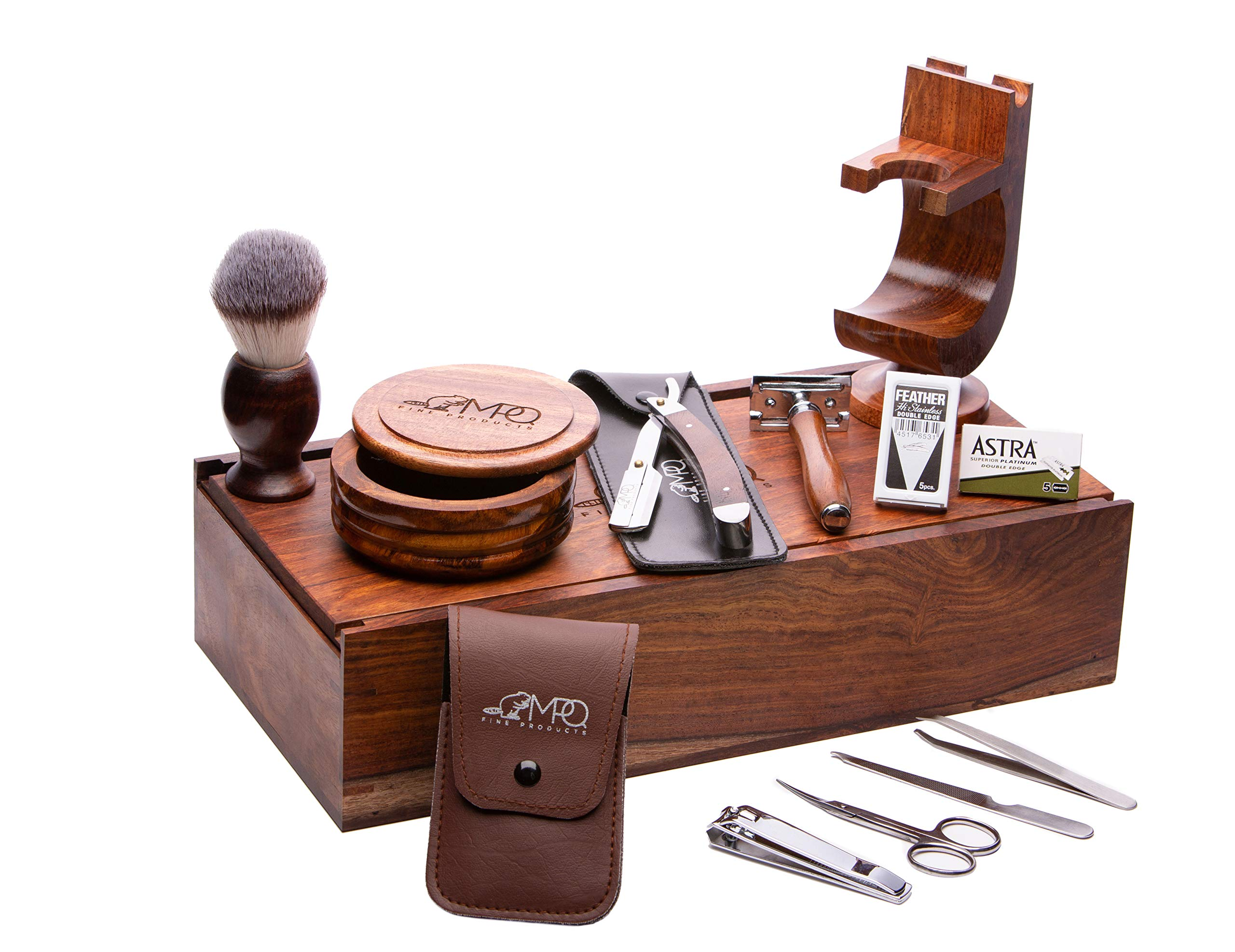 Vintage Luxury and Stylish Rosewood Gentleman Shaving Set   Handcrafted 13 Piece Professional Shaver Kit   Safety Razor, Straight Razor, Wooden Shaver's Brush, Soap Bowl, Shaving Stand, Grooming Tools by MPQ