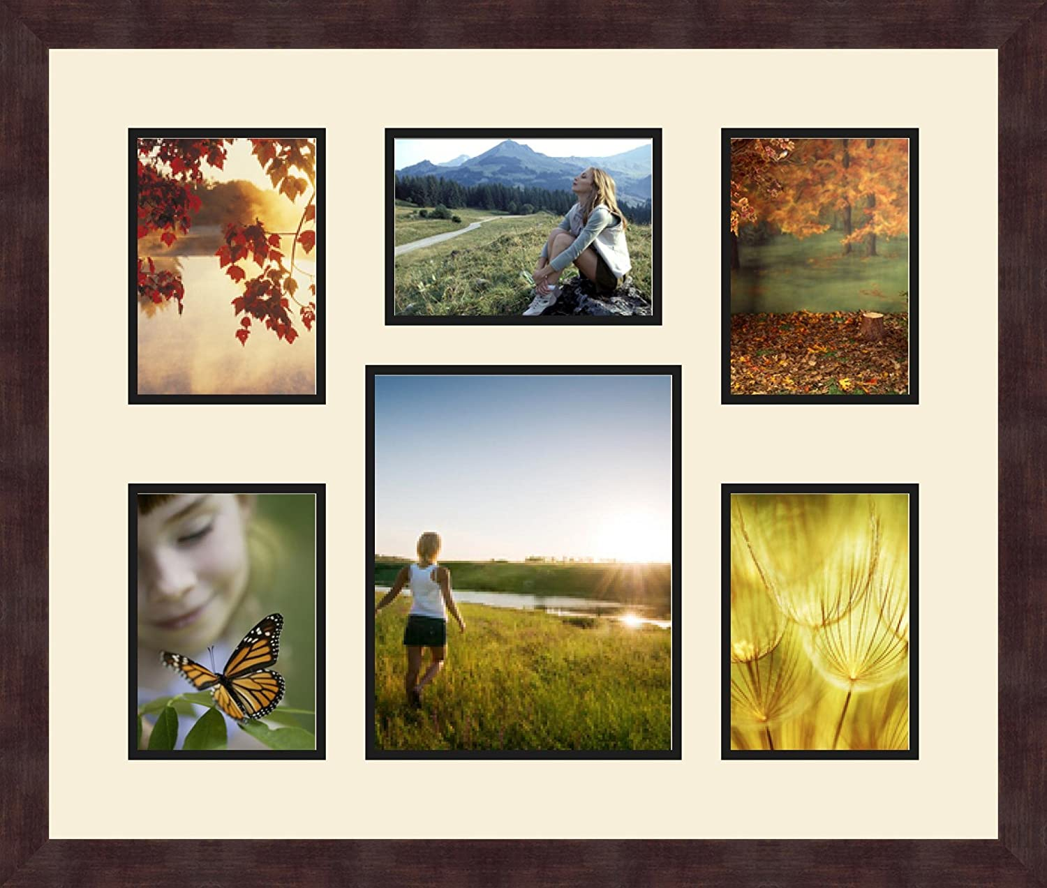 Art to Frames Double-Multimat-367-836//89-FRBW26061 Collage Frame Photo Mat Double Mat with 5-5x7 and 1-8x10 Openings and Espresso Frame