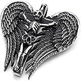MunkiMix Acier Inoxydable Pendentif Collier Ton d'Argent Noir Crâne Croix Ange Aile Homme ,58cm chaîne