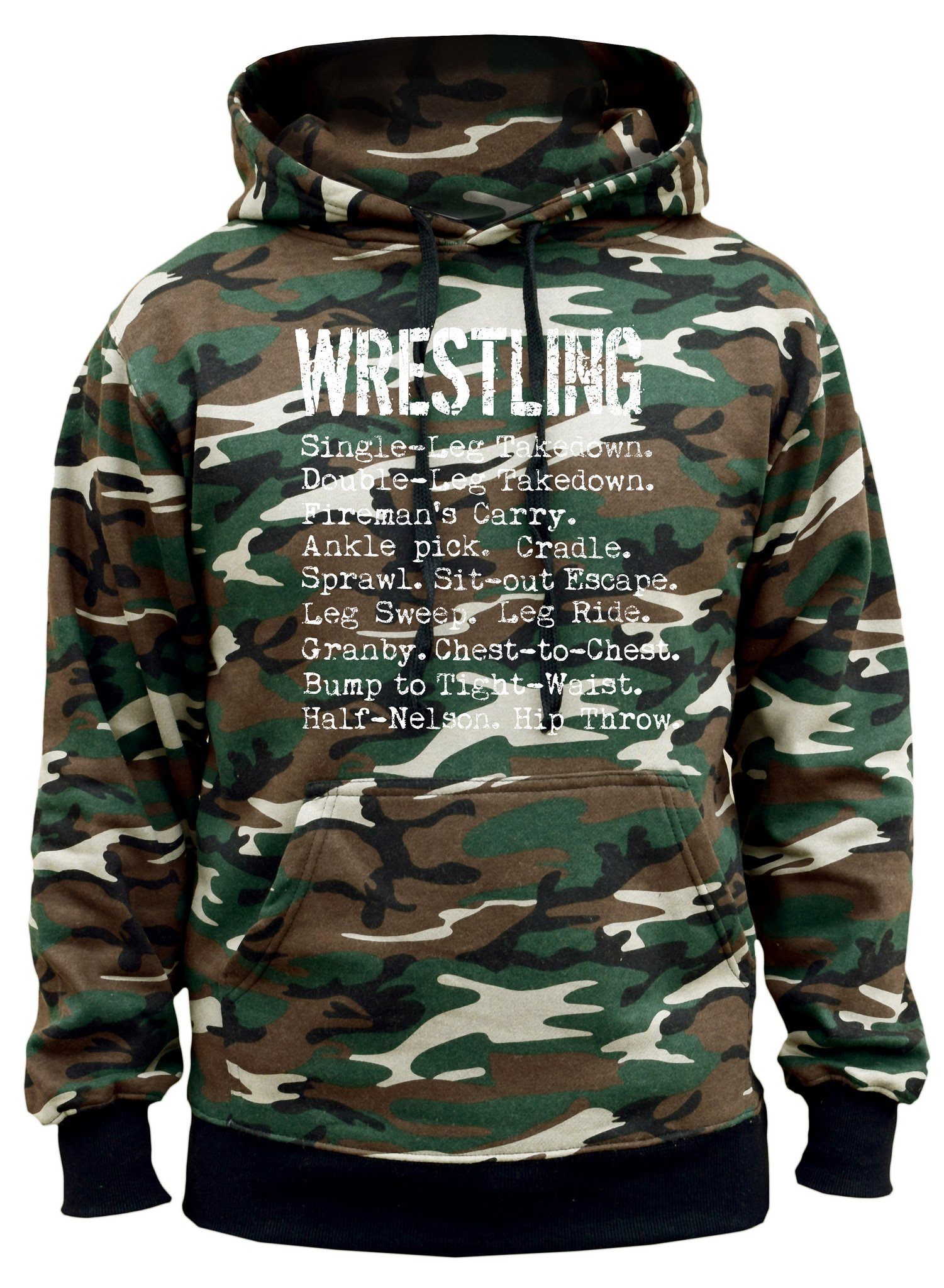Men's Wrestling Moves Camo Hoodie Large by Interstate Apparel