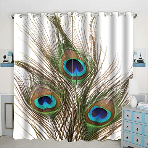 QH Peacock Feathers Window Curtain Panels Blackout Curtain Panels Thermal Insulated Light Blocking 42W x 84L inch Set of 2 Panel