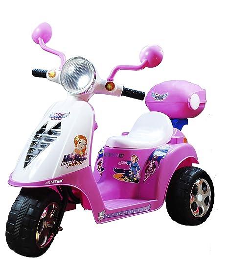 SABWAY Moto electrica niños - Triciclo Scooter Infantil Batería 6V Recargable - Rosa Rueda Ancha Estable