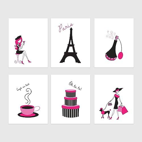 Amazon Com Pink Paris Wall Art Eiffel Tower Decor Paris