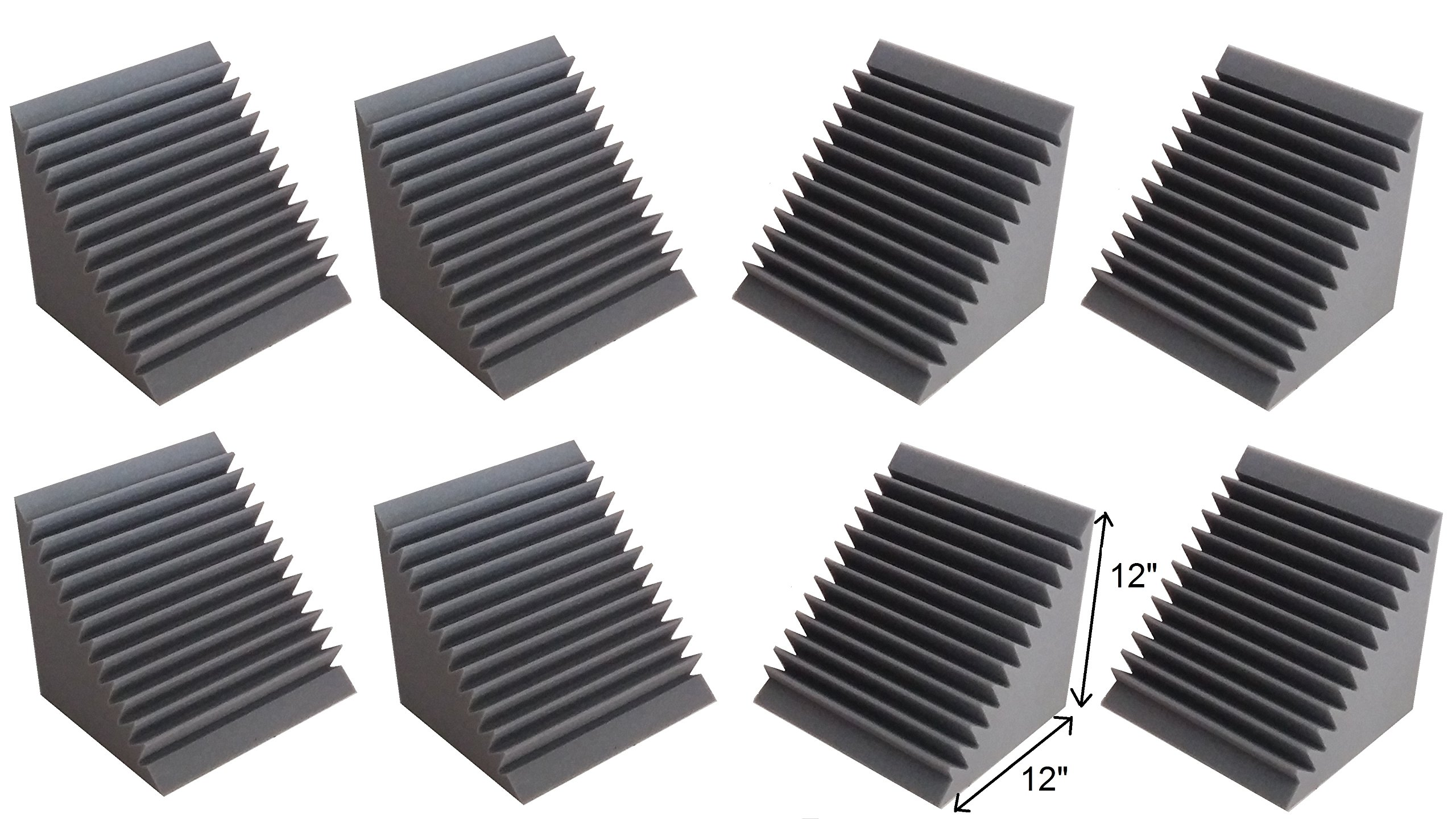 Acoustic Foam Bass Trap Corner- 8 Pack 12'' X 12'' X 12''