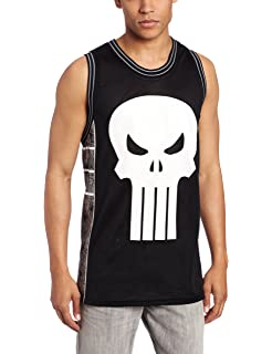 Marvel Mens Punisher Castle Basketball Jersey Shirt