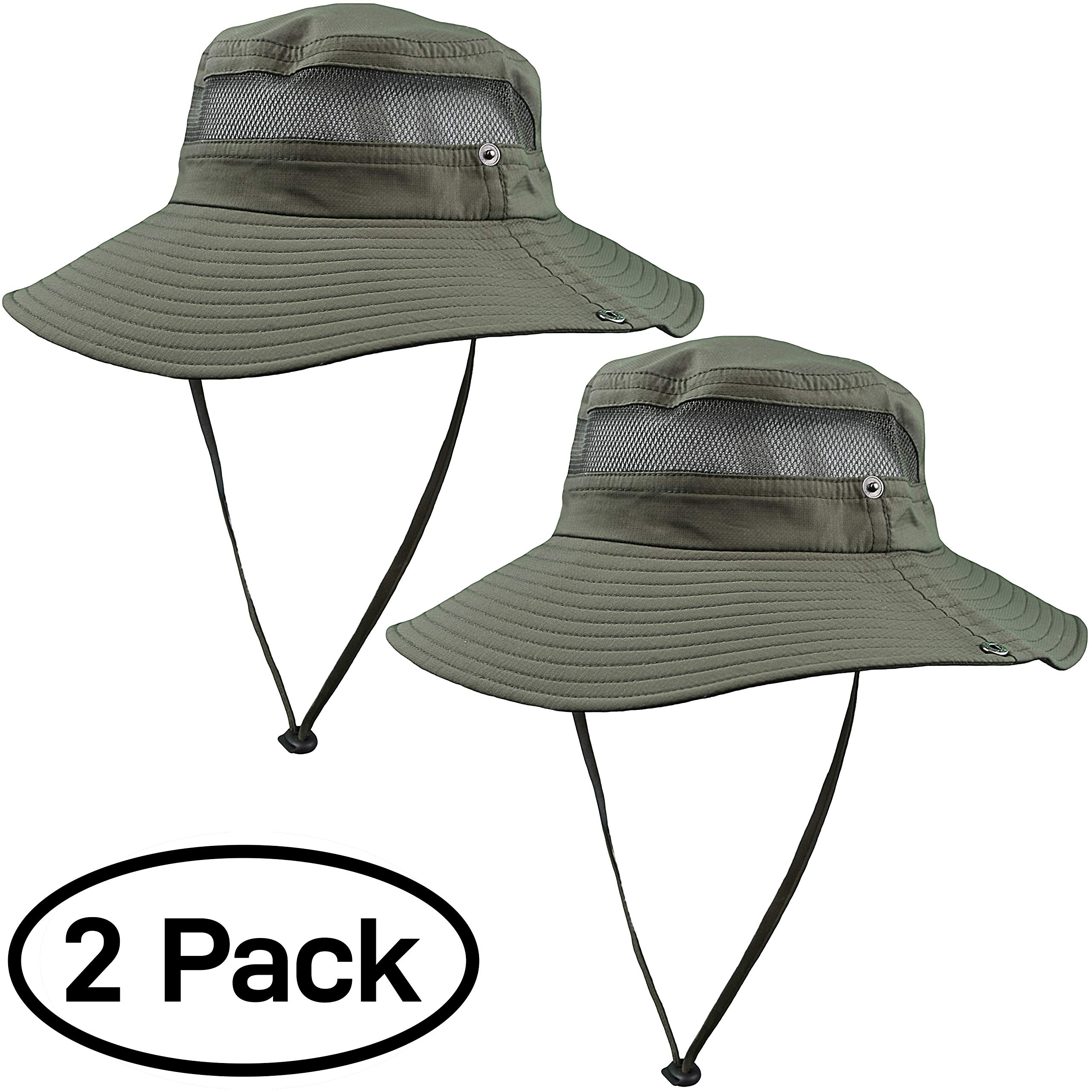 GearTOP Fishing Hat and Safari Cap with Sun Protection | Premium Hats for Men and Women (Army Green - 2 Pack) by GearTOP (Image #7)