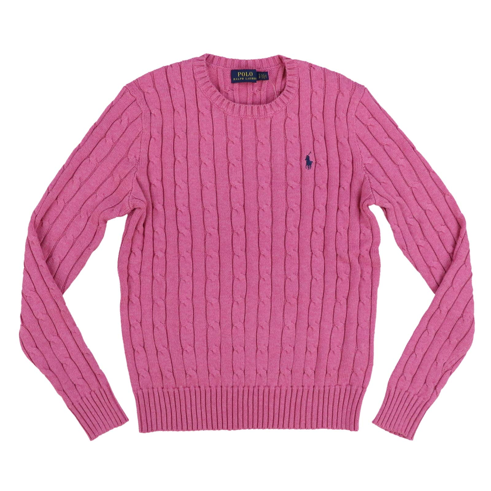 Polo Ralph Lauren Womens Cable Knit Crew Neck Sweater (Large, Blush Pink)