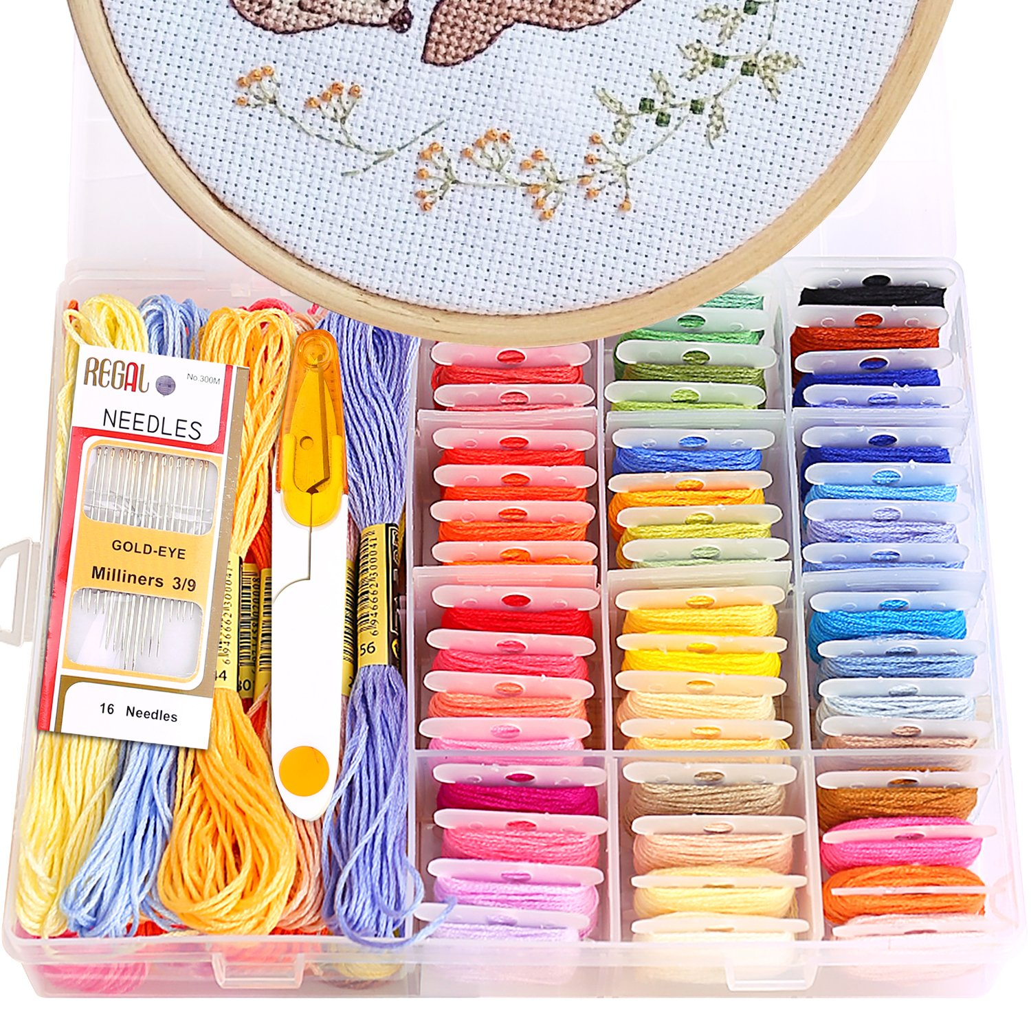 Innocheer Embroidery Starter Kit, Cross Stitch Kits for Beginners with Storage Box, 50 Color Threads, 1 pcs Bamboo Cross Stitch Hoops, 1 Pieces 14 Count Cloth Reserve Aida and Cross Stitch Tools gogodirect 4336934169