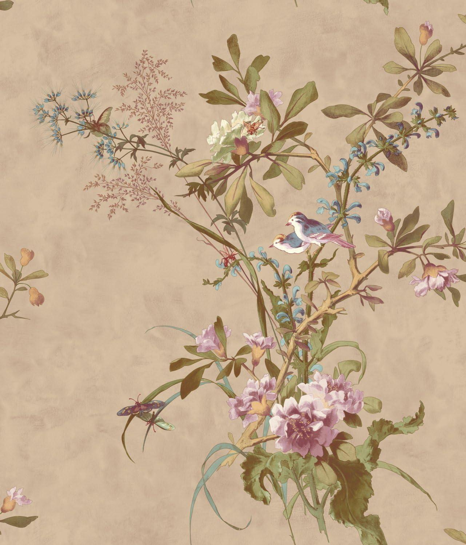 Wallpaper Pink Green Cream Apple Blossoms on Marbleized Beige Faux