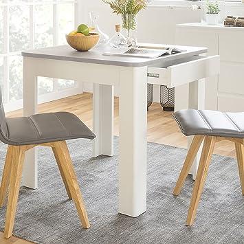 Esstisch Küchentisch inkl. Schublade (2 Farben wählbar) abgerundet ...
