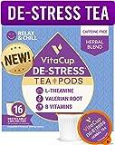 VitaCup DeStress Herbal Tea Pods 16 Ct | Relax & Chill | L-Theanine, Valerian Root & Vitamins B1, B5, B6, B9, B12…