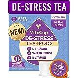 VitaCup DeStress Herbal Tea Pods 16 Ct | Relax & Chill | L-Theanine, Valerian Root & Vitamins B1, B5, B6, B9, B12 | Compatibl