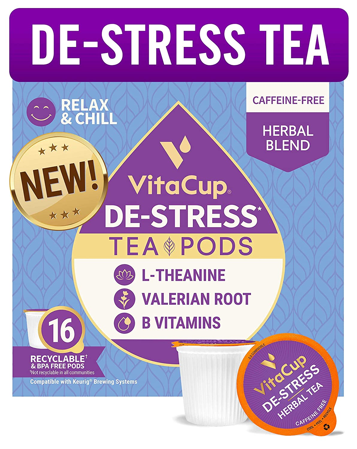 VitaCup DeStress Herbal Tea Pods 16 Ct | Relax & Chill | L-Theanine, Valerian Root & Vitamins B1, B5, B6, B9, B12 | Compatible with K-Cup Single Serve Brewers Including Keurig 2.0