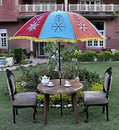 Lalhaveli Ethnic Handmade Floral Embroidery Work Design Cotton Garden Umbrella 52 X 72 Inches