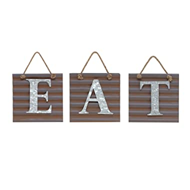 Barnyard Designs Eat Galvanized Metal Letter Tile Wall Sign, Primitive Country Rustic Kitchen Farmhouse Home Decor Sign 28  x 10  (Each Tile 8  x 8 )